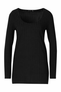 Womens Recycled Longline Side Split Rib Top - black - 12, Black