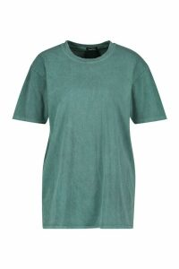 Womens Washed Effect T-Shirt - green - M, Green