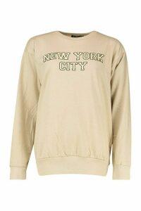 Womens New York City Slogan Print Sweatshirt - beige - M, Beige