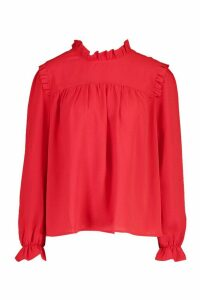 Womens High Neck Ruffle Detail Top - red - 6, Red