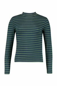 Womens High Neck Long Sleeve Stripe Top - navy - XS, Navy