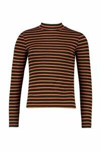 Womens High Neck Long Sleeve Stripe Top - orange - XS, Orange