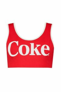 Womens Coca Cola Licensed Scoop Neck Crop Top - red - 14, Red