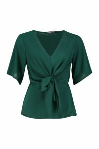 Womens Knot Front Woven Blouse - Green - 12, Green