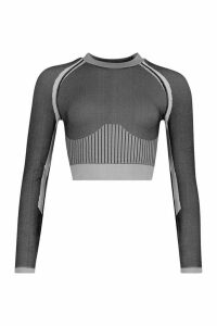 Womens Fit Seamless Knit Contrast Woman Active Crop Top - grey - S, Grey