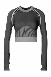 Womens Fit Seamless Knit Thumb Hole Woman Active Crop Top - grey - M, Grey