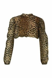 Womens Leopard Print Chiffon High Neck Crop Top - brown - 16, Brown