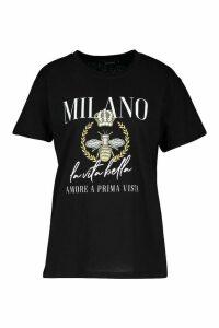 Womens Milan Slogan Print T-Shirt - Black - Xl, Black