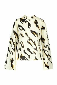 Womens Leopard High Neck Flare Sleeve Blouse - white - 10, White