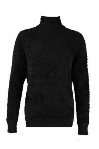 Womens Oversized Fluffy Feather Knit Jumper - black - M, Black