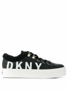DKNY faux shearling logo sneakers - Black