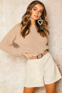 Womens Crop Fisherman Jumper - Beige - M, Beige