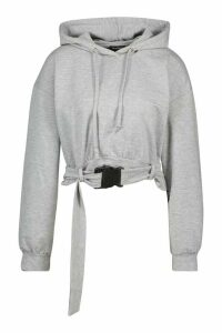 Womens Buckle Detail Oversized Hoody - grey - M, Grey