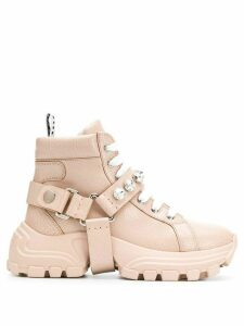 Miu Miu crackled crystal embellished hi-top sneakers - PINK