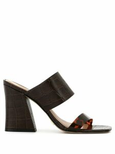 Vicenza crocodile-effect mules - Brown