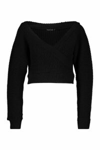 Womens Petite Rib Knit Wrap Kimono Sleeve Jumper - black - M, Black