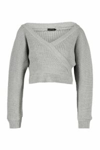 Womens Petite Rib Knit Wrap Kimono Sleeve Jumper - Grey - L, Grey