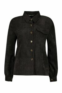 Womens Petite Volume Sleeve Mock Horn Button Shirt - black - 14, Black