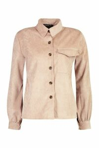 Womens Petite Volume Sleeve Mock Horn Button Shirt - beige - 14, Beige