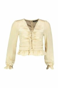 Womens Petite Hammered Satin Ruched Front Blouse - beige - 4, Beige