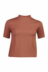 Womens Petite Oversized Side Split Jumbo Rib T-Shirt - brown - 14, Brown