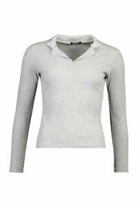 Womens Petite Collar Detail Rib Top - grey - 6, Grey