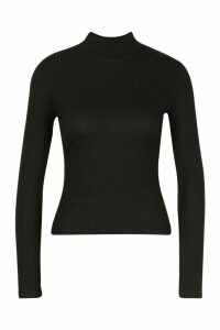 Womens Petite roll/polo neck Jumbo Rib Top - black - 14, Black