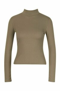 Womens Petite roll/polo neck Jumbo Rib Top - green - 14, Green