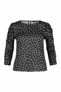 Womens Plus Polka Dot Puff Sleeve Peplum Top - black - 18, Black