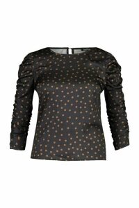 Womens Plus Polka Dot Puff Sleeve Peplum Top - brown - 18, Brown