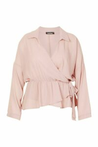 Womens Plus Wrap Detail Shirt Blouse - pink - 24, Pink