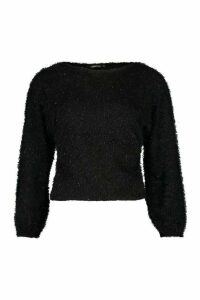 Womens Petite Fluffy Sparkle Knit Jumper - black - M, Black