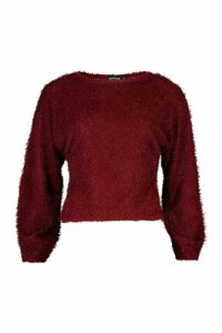 Womens Petite Fluffy Sparkle Knit Jumper - red - M, Red