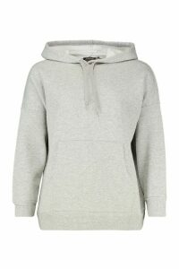 Womens Petite Fleece Basic Hoodie - grey - 8, Grey