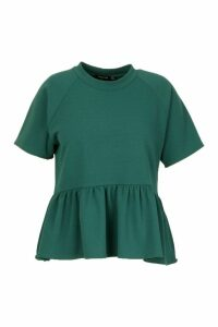 Womens Plus High Neck Dip Hem Smock Top - green - 26, Green