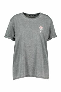 Womens Plus Acid Wash Pocket Rose Print T-Shirt - grey - 26, Grey