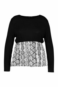 Womens Plus Contrast Snakeskin Long Sleeve Smock Top - black - 18, Black