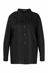 Womens Plus Woven Stripe Shirt - black - 22, Black