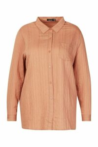 Womens Plus Woven Stripe Shirt - orange - 22, Orange