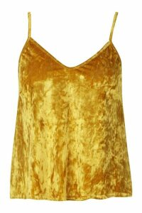 Womens Plus Crushed Velvet Cami Top - yellow - 28, Yellow