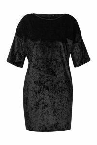 Womens Plus Oversized Crushed Velvet T-Shirt Dress - black - 22, Black