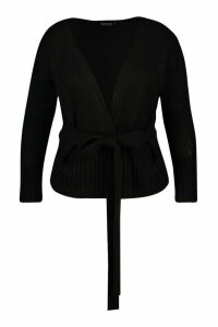 Womens Plus Wrap Detail Tie Belted Cardigan - black - 20/22, Black