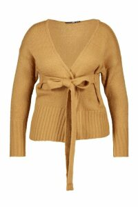 Womens Plus Wrap Detail Tie Belted Cardigan - beige - 16/18, Beige