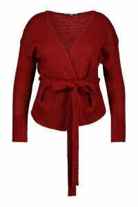 Womens Plus Wrap Detail Tie Belted Cardigan - red - 16/18, Red