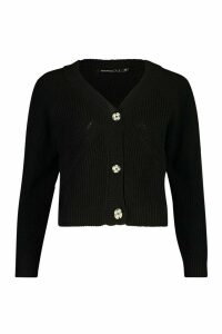 Womens Petite Mock Horn Button Chunky Knit Cardigan - black - M, Black