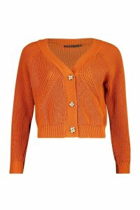 Womens Petite Mock Horn Button Chunky Knit Cardigan - orange - M, Orange