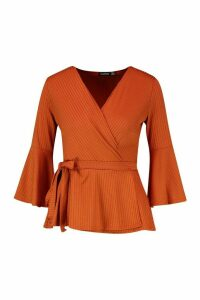 Womens Petite Ribbed Peplum Wrap Top - orange - 8, Orange