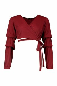 Womens Petite Ribbed Wrap Ruffle Sleeve Top - red - 10, Red