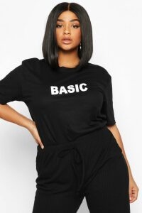 Womens Plus 'Basic' T-Shirt - black - 16, Black