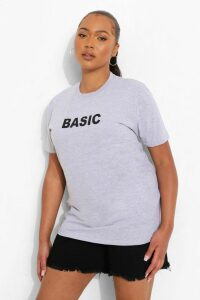 Womens Plus 'Basic' T-Shirt - grey - 20, Grey